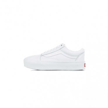 SCARPA BASSA OLD SKOOL PLATFORM LEATHER TRUE WHITE/TRUE WHITE