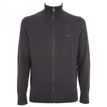 Pullover in cashmere e cotone con zip P9XCHARCOALH