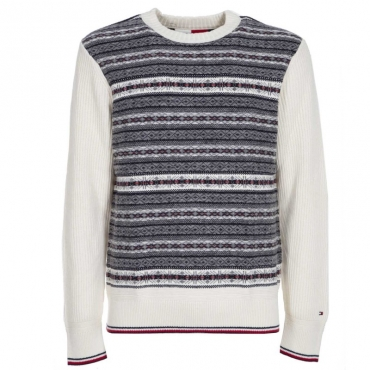 Pullover bianco con trama frontale YAUWHISPERWH