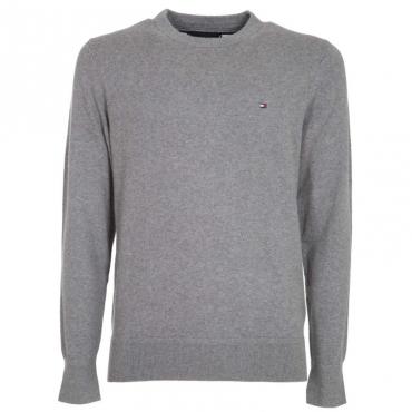 Pullover in cotone e cashmere con logo P9WSILVERFOG