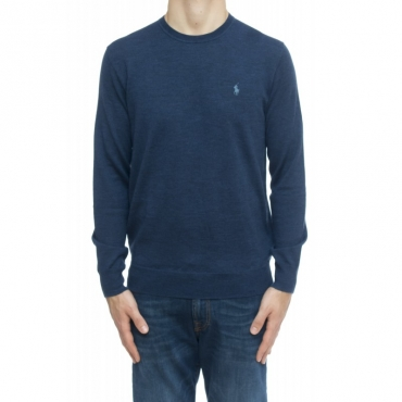 Maglia uomo - 714346 maglia giro merinos 013 - Azzurro