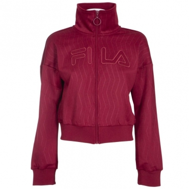Felpa corta con zip e collo alto 871BIKINGRED