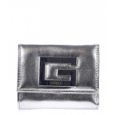 Piccolo portafoglio in finitura metallizzata argento