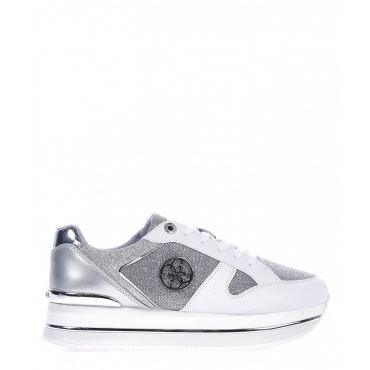 Sneaker platform con finitura in glitter argento