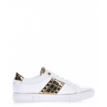 Sneaker in ecopelle con dettagli metallici bianco