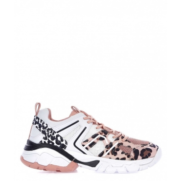 Chunky sneaker con stampa animalier rosa antico