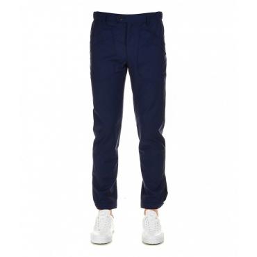 Pantalone stile cargo in lana blu scuro