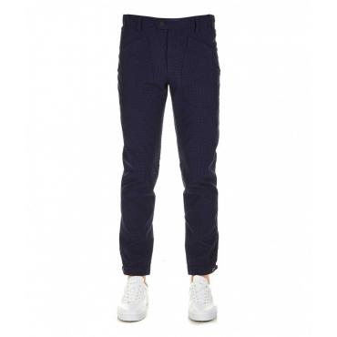 Pantalone casual a quadretti blu scuro