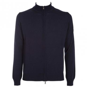 Maglione in lana merino con full zip 08BLU