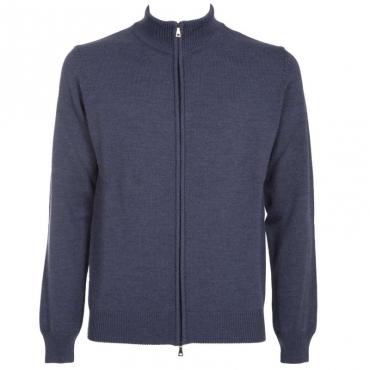 Maglione in lana merino con full zip 09AVIO