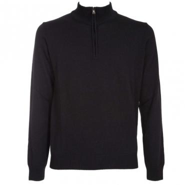 Pullover con mezza zip in lana merino 02NERO