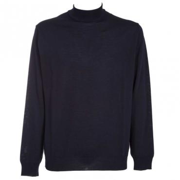 Pullover a collo alto in lana merino 08BLU
