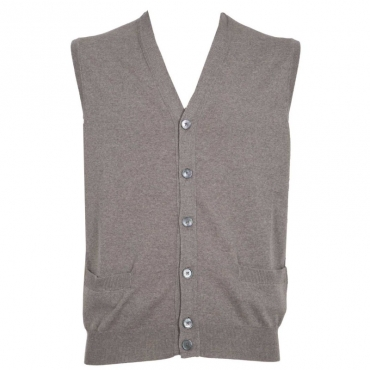 Cardigan smanicato in lana Merino 110VISONE