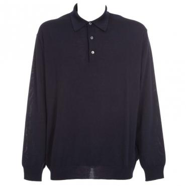 Maglione in lana merino con colletto 08BLU