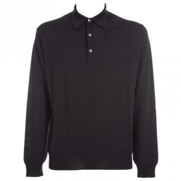 Maglione in lana merino con colletto 02NERO