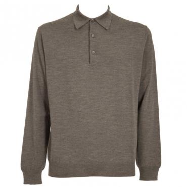 Maglione in lana merino con colletto 15ACCIAIO