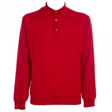 Maglione in lana merino con colletto 29ROSSO