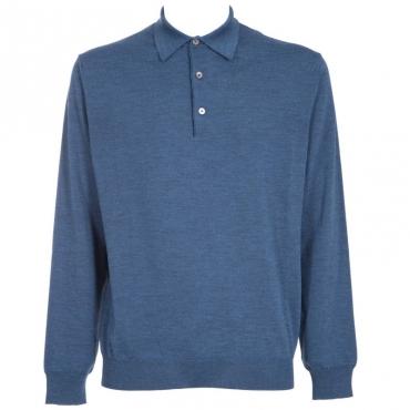 Maglione in lana merino con colletto 440PAVONE