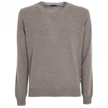 Maglione con scollo a V in lana merino 110