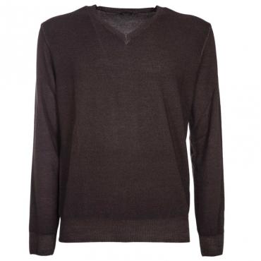 Pullover in lana merino con scollo a V 48