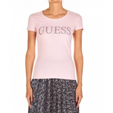 T-Shirt mit Glitzer-Logo Rosa