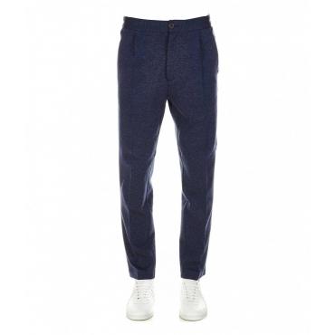 Pantalone con pieghe in jersey blu scuro