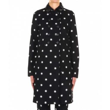Cappotto con stampa stelline nero
