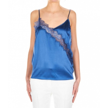 Top con pizzo Hamburger blu