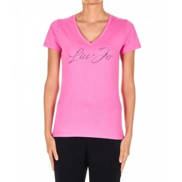 T-Shirt mit Strass-Logo Pink
