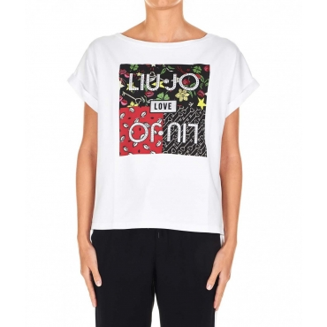 T-shirt oversized con stampa frontale bianco