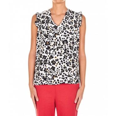 Top stile blusa stampato crema