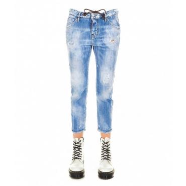 Cool Girl Cropped Jean azzurro