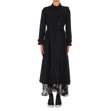 Cappotto Trench in materiale tecnico nero