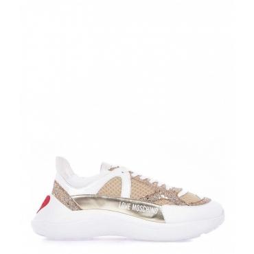 Chunky sneaker con dettagli metallizzati oro