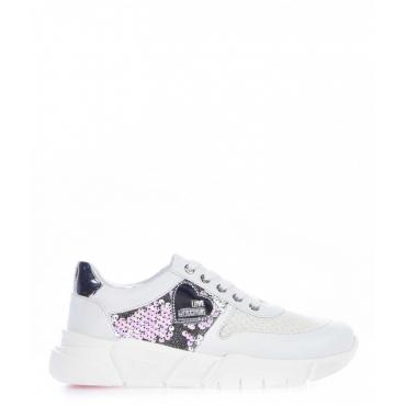 Chunky sneaker con lustrini bianco