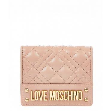 Piccolo portafoglio trapuntato rosa antico