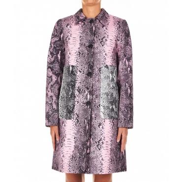 Cappotto con stampa pittone rosa chiaro