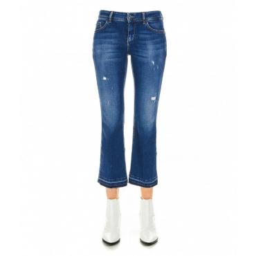 Cropped flared jeans blu