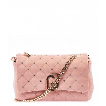 Piccola borsa a tracolla trapuntata rosa antico