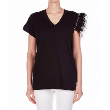 T-shirt con dettaglio piuma nero