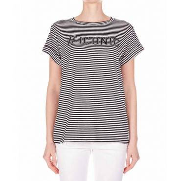 T-shirt con dettagli strass nero