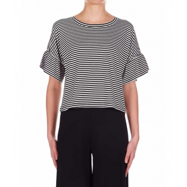 T-shirt cropped a righe nero