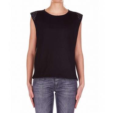 T-shirt con dettaglio borchie nero
