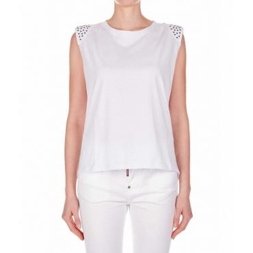 T-shirt con dettaglio borchie bianco