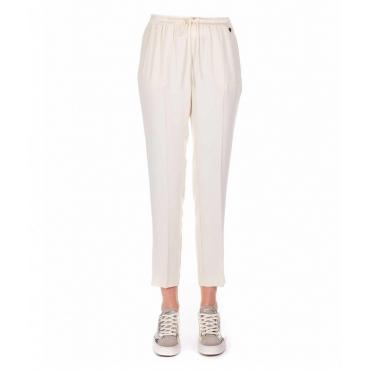 Pantalone jogging elegante avorio
