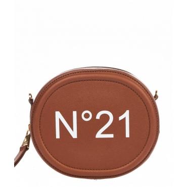 Piccola borsa a tracolla con logo marrone chiaro