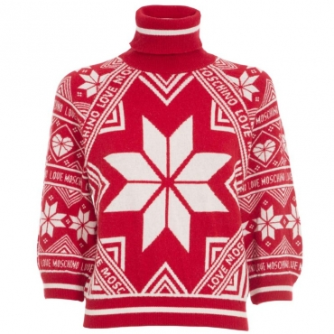 Maglione natalizio a collo alto O87RED