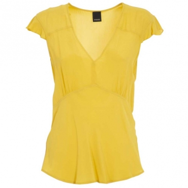 Top in viscosa scollato a V H39YELLOW