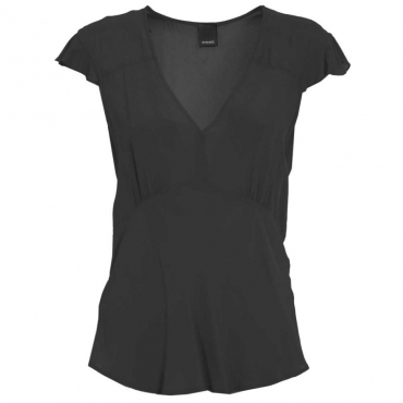Top in viscosa scollato a V Z99BLACK