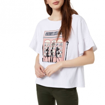 T-shirt con stampa shopping e volant 11111BIANCOO